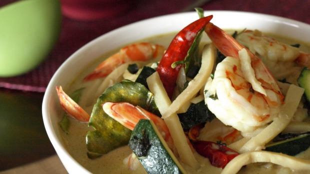 Thai green prawn curry.