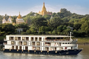 Sanctuary Ananda sails on the Irrawaddy River past Sagaing.