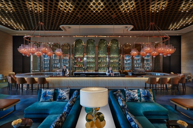 """Some of the design details are subtle, such as the unusual """"woven"""" lobby ceilings. Others are more eye-catching, such as ..."""