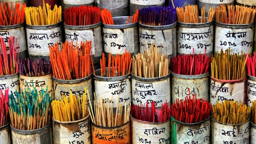 Colorful incense sticks in a shop outside Dadar train station in Mumbai.