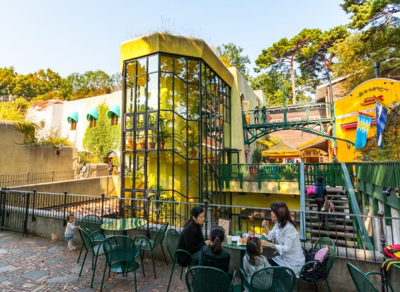 Visitors enjoying drinks and snacks outside the 'Ghibli Museum' in Tokyo which showcases the work of the director 'Hayao ...