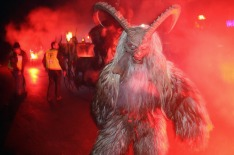 FIEBERBRUNN, AUSTRIA - DECEMBER 03: Revelers dressed as the Krampus creature parade through the village center during an ...