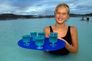 Blue lagoons at the Blue Lagoon in Iceland.