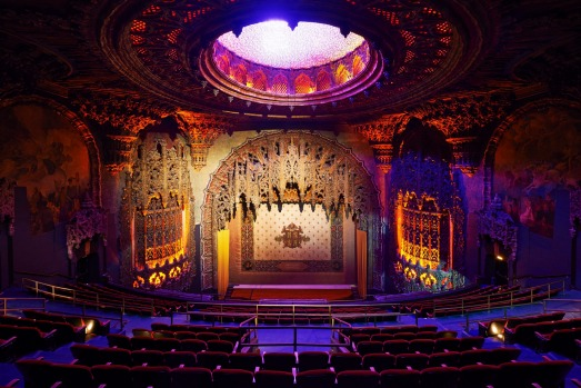 The original 1927 theatre at the Ace Hotel is a phantasmagoria of gilt and plaster work.