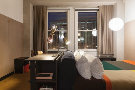 The interiors of the Ace Hotel Downtown have echoes of the modernist era. On the beds are Pendleton wool blankets ...