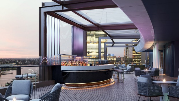 "Designed by Cox Architecture, the hotel's big ""wow"" factor is the rooftop bar – the CBD's only premium hotel rooftop bar ..."