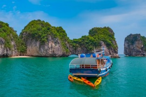 Cruise boat in Halong Bay, Vietnam, Southeast Asia.