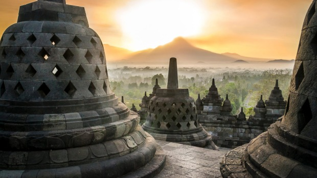 Sunrise at Borobudur temple on Java.