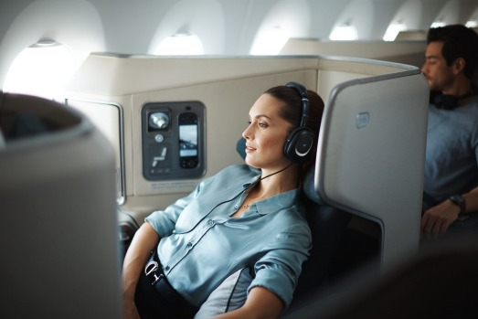 <b>On board Cathay Pacific Airbus A350:</b> Bussiness class on Cathay's new A350.
