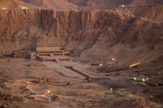 An aerial view of the Mortuary Temple of Hatshepsut in Valley of the Kings, Egypt.