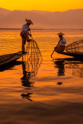 Fishermen at Inle Lake, Shan State, Myanmar.
