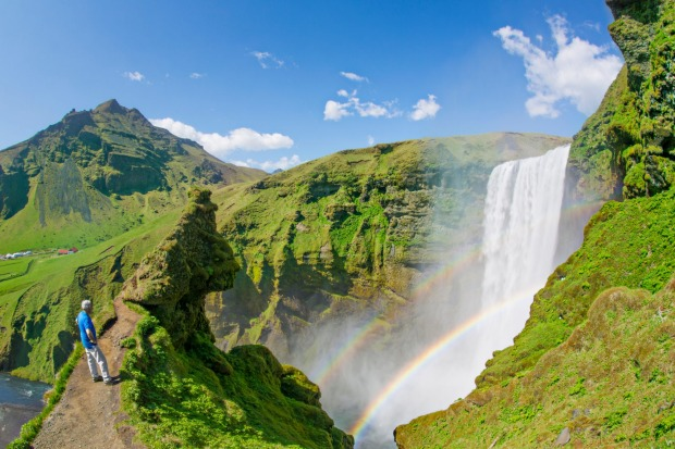 Skogafoss Waterfall, in Iceland.