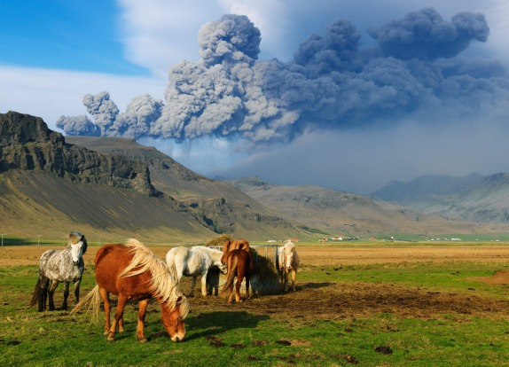 Volcanic ash cloud spews across the Icelandic landscape.