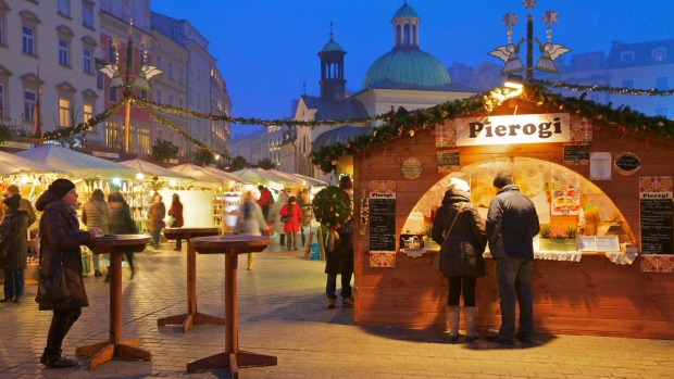 Pierogi for sale at a Christmas market.