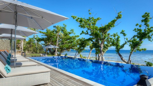 Gaze out over Vomo's pool to the azure Pacific.