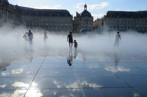 Miroir d'eau in Bordeaux - a water mirror that reflects the grand Place de Bourse.