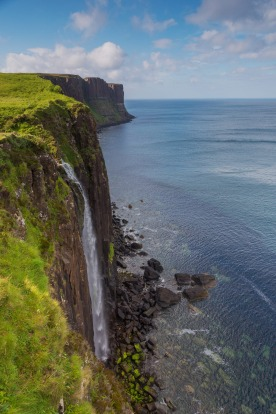 Kilt Rock waterfall in the isle of Skye, Scotland.