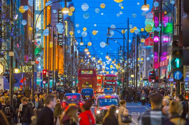 Christmas lights decorate Oxford Street, London.