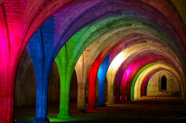 Fountains abbey cellarium lit up for the Christmas display.