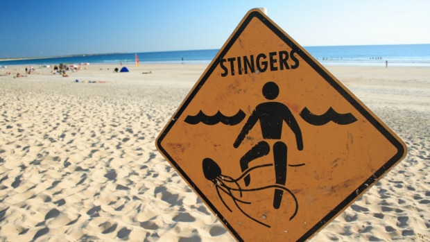 A jellyfish warning sign on a beach in Western Australia.