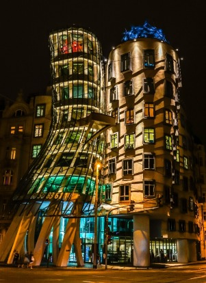 This photo was taken in August 2016 in Prague, Czech Republic.  The photo of the Dancing House, designed by ...
