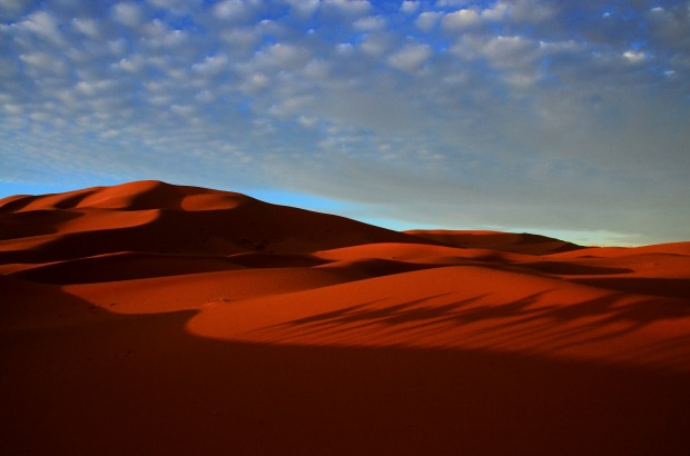 Our first view of the Sahara in Morocco was in the late afternoon, when the shadows were long, and the colours were ...