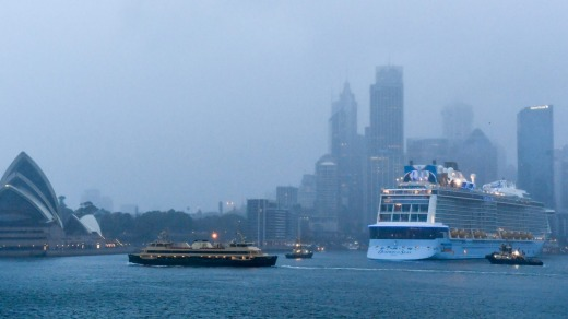 Ovation Of The Seas docks at Sydney's Overseas Passenger Terminal at Circular Quay.