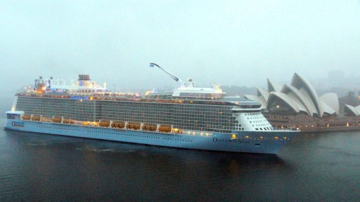 Ovation of the Seas arrives in Sydney for the first time.