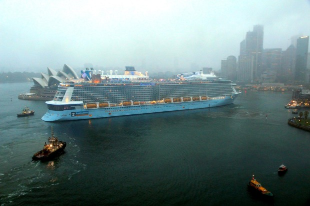 Photos: Ovation of the Seas, the largest cruise ship to be based in Australia, arrives in Sydney for the first time in 2016.