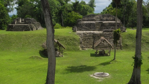 Exacavated Maya ruins at Uaxactun.