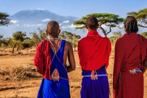 African warriors from Maasai tribe who live in southern Kenya and northern Tanzania.