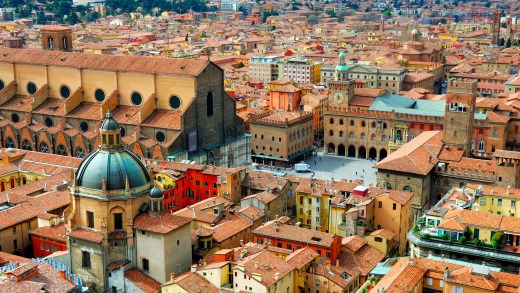 Italy, Bologna view from Asinelli tower.