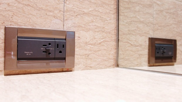 """Bathroom power points in hotels typically are labelled """"shavers only""""."""