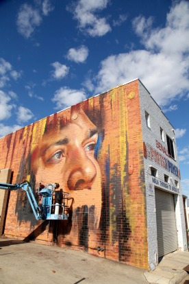 Near-completed works of Adnate's Indigenous Australian man.