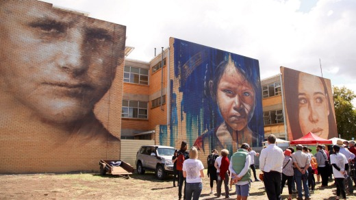 Portraits by Guido, Adnate and Rone from 2015 are still very much part of Benalla.