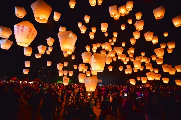 The annual sky lantern festival in northern Taiwan's Pingxi District.
