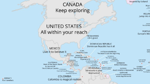 Tourism slogans around the world map reveals every country in the north and central america sciox Images