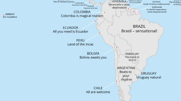 Tourism slogans around the world: Map reveals every country