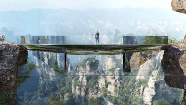 Scary: The 'invisible' footbridge.