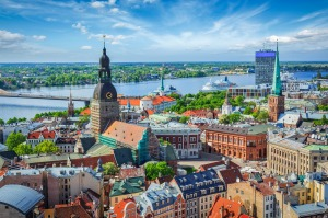 Aerial view of Riga centre from St Peter's Church, Riga, Latvia.