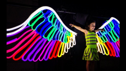 Neon Angel Wings will be glowing at Ballarat's White Night festival.