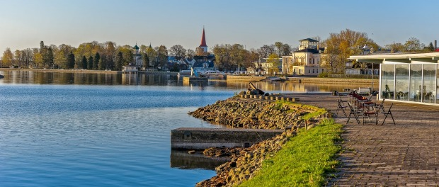 Early morning on the waterfront of Haapsalu, one of two most famous health resorts in Estonia.