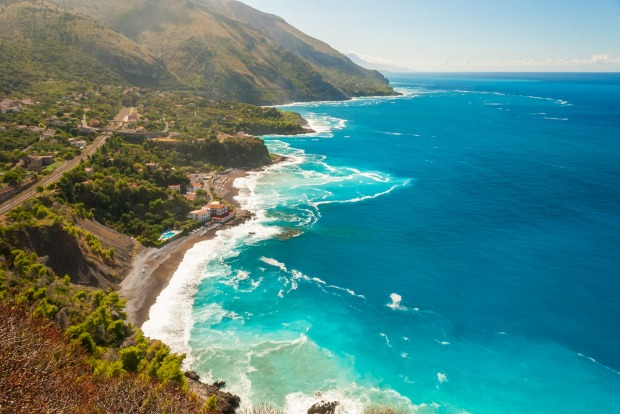 Aerial view of the coastline near Maratea (southern Italy).