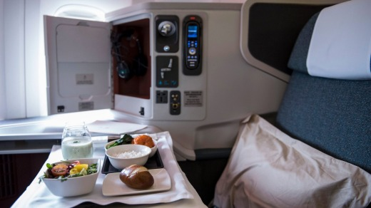 An in-flight meal served on Cathay Pacific business-class.