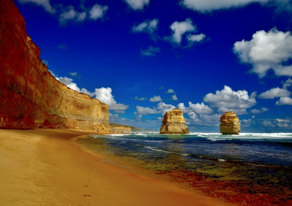 The 12 Apostles on the beach.