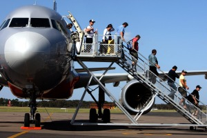 Passengers always board and disembark planes from the left hand side.