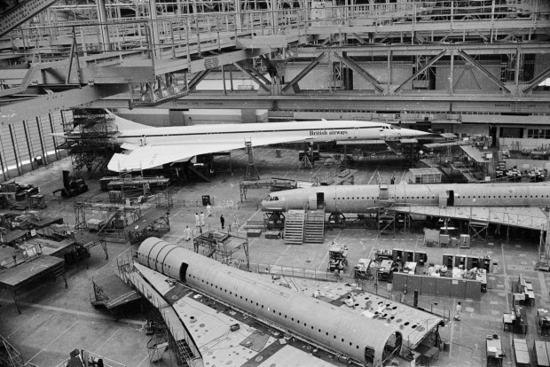Four Concordes in production at the British Aircraft Corporation works in Bristol, England, in 1975.