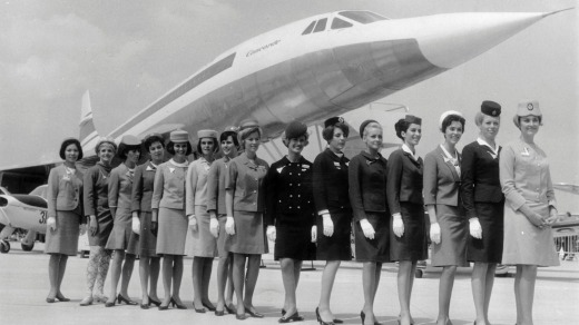 Flight attendants from different airlines line up in front of the Concorde in 1960.