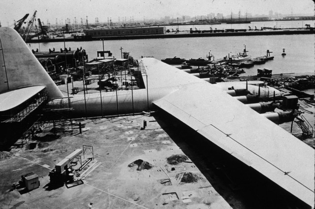The Spruce Goose.  A famous project of eccentric American entrepreneur Howard Hughes (portrayed by Leonardo DiCaprio in ...