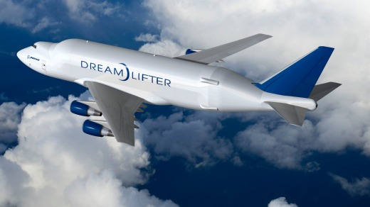 Boeing's Dreamlifter, a converted 747 jumbo jet.